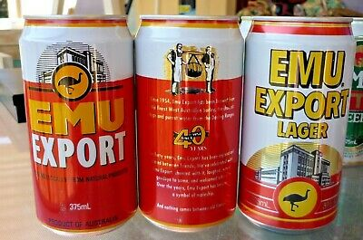 Collectable beer cans: Set of 3 Emu Export beer cans