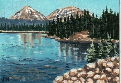 "aceo original acrylic painting  ""Blue Western Lake"" by J. Hutson"