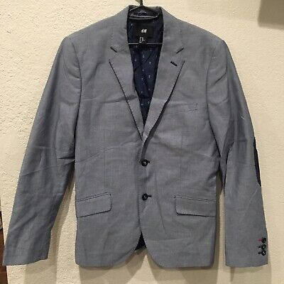 MENS H\u0026M WOOL Light Blue Suit Blazer Jacket With Elbow