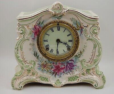 Antique Royal Bonn  Hand Painted Porcelain Floral Clock