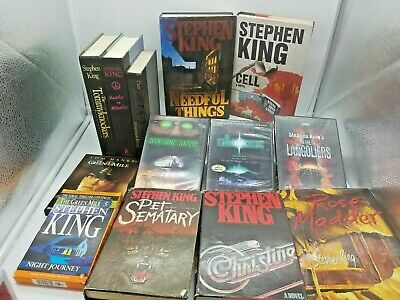 13 pc Stephen King 8 Book Lot Hardcover & 4 dvd green mile tommyknockers cell