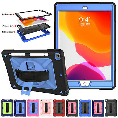 For iPad 7th Gen 10.2 2019 Cover Shockproof Tough Armor Hybrid Rubber Stand Case