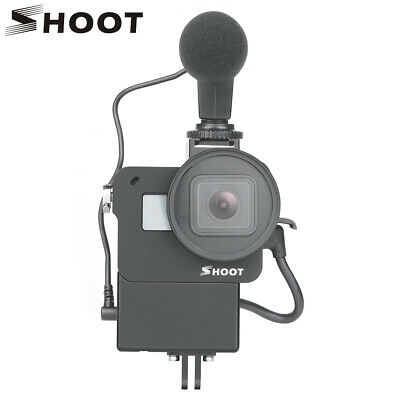 SHOOT for GoPro Protective Vlog Case Microphone Cage for GoPro Hero 7 6 5 Black