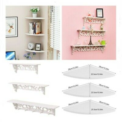 3Pcs Wooden Wall Floating Corner Shelf Storage Unit Wall Mounted Display Shelves