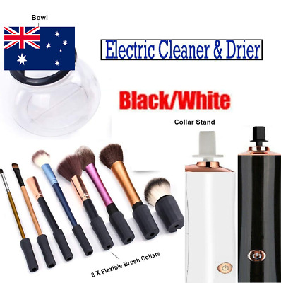 Electric Makeup Brush Cleaner and Dryer tool Dry Quickly with Collar Stand B&W