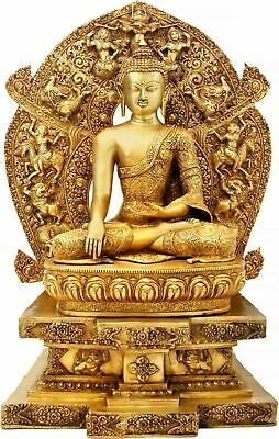 "34.5"" Buddha Statue Meditation Large Buddhist Natural Antique Brass Figurine"