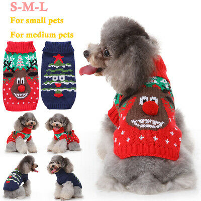 Pet Christmas Elk Knitted Dog Jumper Clothes Sweater Xmas Costume For Small Dogs