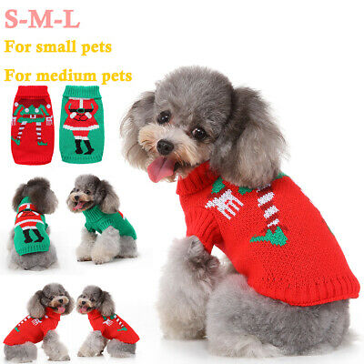 Cute Pet Dog Christmas Knitted Jumper Sweater Costume Pullover Clothes Outfits