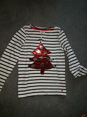 Girls Joules Christmas Tree Sequin Top. 7-8 Years