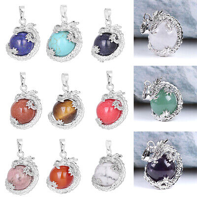 3D Dragon Ball Claw Wrap Healing Stone Pendant Bead Jewelry Necklace Acces