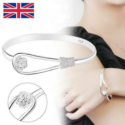 2X Solid Sterling Silver 925 Flower Bracelet Bangle Charm Lady Womens Love Gifts