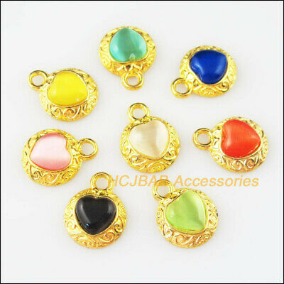 8 New Flower Heart Charms Mixed Cat Eye Stone Pendants Gold Plated 13x16mm
