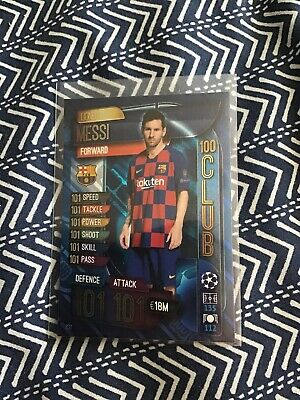 Match Attax 2019/20 Lionel Messi 100 101 Hundred Club Card