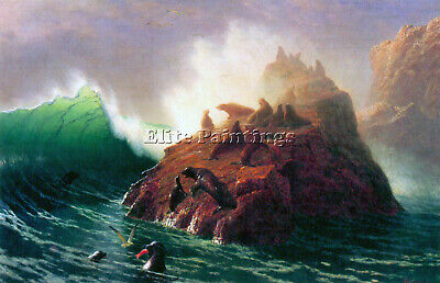 Bierstadt Seal Rock California Artist Painting Reproduction Handmade Oil Canvas