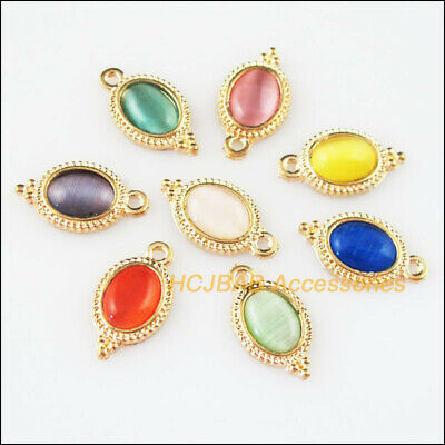 8 New Oval Flower Mixed Charms Cat Eye Stone Pendants Gold Plated 9x16.5mm