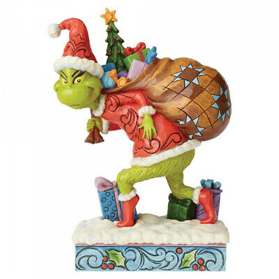 Jim Shore The Grinch Tip Toeing Grinch With Bag Of Gifts Figurine 19.5cm 6004062