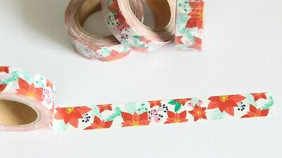 Christmas poinsettia washi tape, floral, 15mm x 10m
