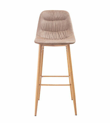 Set Of 2 Margot Bar Stools Beige Upholstered Velvet Bar Stools With Wooden Legs