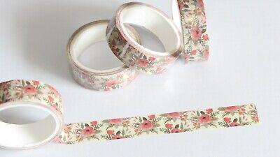 Floral washi tape, flowers, 15mm x 5m