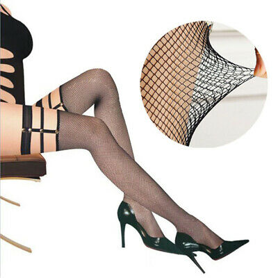 Fishnet Socks Women Sheer Top Stay Up Mesh Net Pantyhose Thigh High Stockings 01