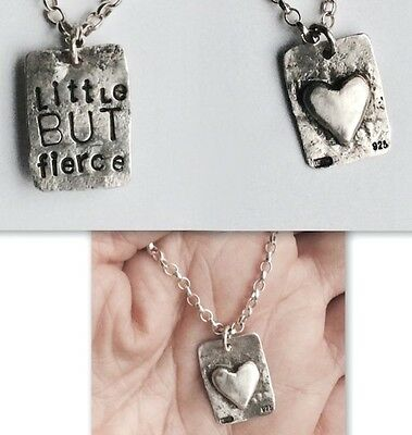 STERLING SILVER HAND MADE Little BUT fierce LOVE HEART NECKLACE LONDON DESIGNER
