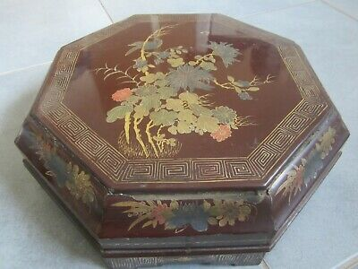 boite a bijoux ronde  laquée chinoise ancienne antic asie