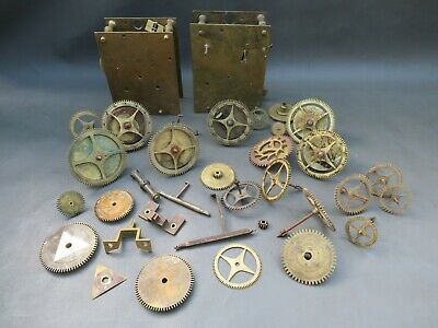 Job lot of Antique Grandfather Longcase clock movement parts for repair spares
