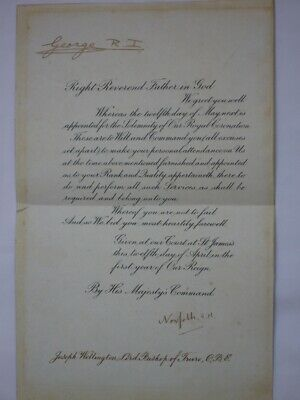 Rare King George VI Hand Signed Coronation Document 1937.