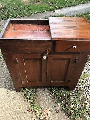 Great Smaller Size Antique Mixed Wood Primitive Copper Well Dry Sink Furniture