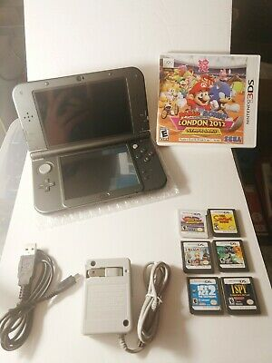 Nintendo New 3DS XL Black W/6 Games Mario and Sonic Olympics 3ds On🔥 Sale🔥😁