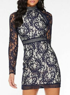 BNWT Quiz Long Sleeve High Neck Lace Bodycon Shift Dress UK12 TOWIE RRP £65