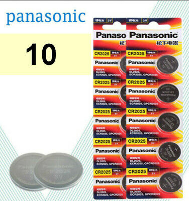 ⭐⭐⭐⭐⭐ 10 PANASONIC CR2025 CR 2025 3v Lithium Battery Expiration date 2028