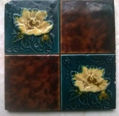 Victorian Hand Blown Tile Circa 1890's