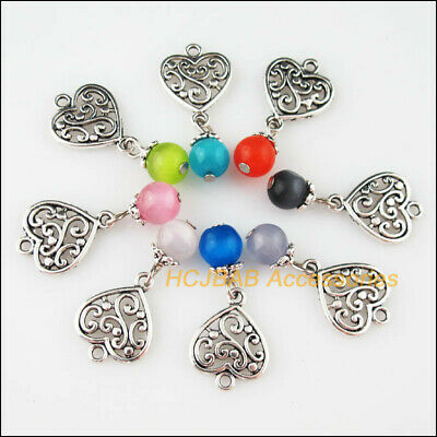 8 New Heart Flower Charms Tibetan Silver Mixed Cat Eye Stone Pendants 14.5x19mm