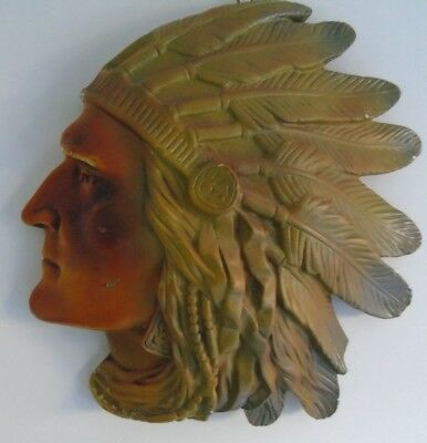 relief moulded wall plaque  Native American antique bust plaster art figurine