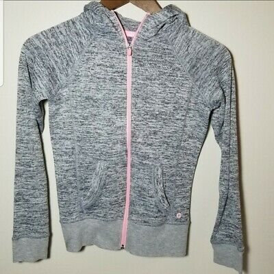 90 Degree by Reflex Gray Girls Jacket with Pink Zipper Girls Size M EUC