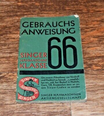 Vintage 1929 SINGER Electric SEWING MACHINE 66 Instructions Manual GERMAN lang'e