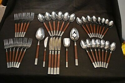 Mid Century Mod 40 PC. Flatware Set Epic Canoe Faux Teak Handle Forged Japan MCM