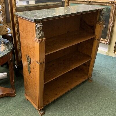 Antique French burr walnut bookcase with marble top