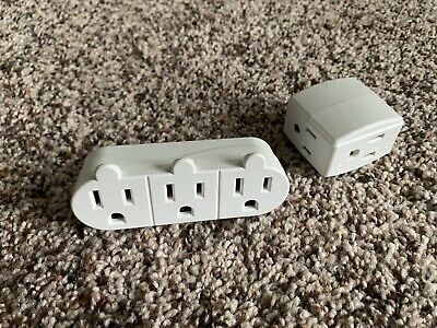 2 x 3 Outlet Wall Adapter Grounded Plug Multi Outlets Adapters Electrical