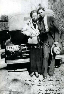 ANTIQUE 8x10 REPRINT PHOTO OF FAMED BONNIE AND CLYDE WITH A STOLEN CAR #2