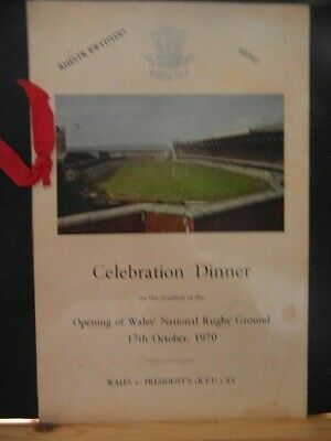 1970 Wales v Presidents xv     dinner menus