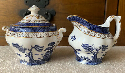 Booths REAL OLD WILLOW Creamer & Covered Sugar Bowl Set A8025 Made in England