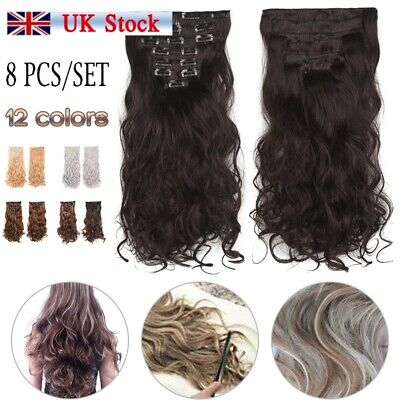 8pcs Full Head Clip in 100% Natural Hair Extensions as Human Long Thick Curly