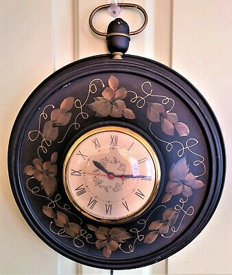 1950s Sessions Metal Electric Wall Clock Toleware Vines EXCELLENT