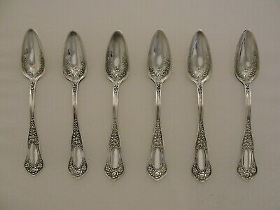 6 Ornate Victorian Antique Silver Plate Rogers Beauty Grapefruit Spoons Lot *7