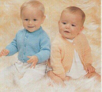 """[28] Knitting Pattern Baby vintage 3 ply 18~22"""" cardigans"""