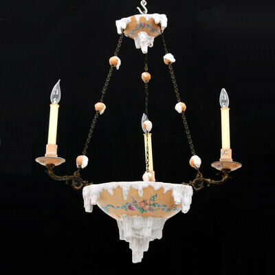 Emile Galle Faience Pottery Chandelier