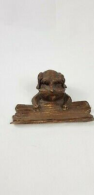 ANTIQUE BLACK FOREST SWISS CARVED WOOD DOG INK WELL GLASS EYES Around 1900