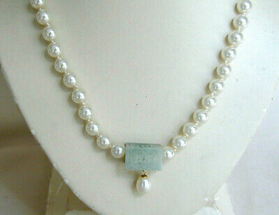 Chinese Carved Jade Pendant on Pearl Necklace with Silver Filigree Clasp - 25""